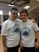 Ricky Hatton and trainer Mike Jackson with their Brisbane Blues tshirts